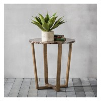 Помощна маса Gallery Direct 5055999224192 Emperor Round Side Table Marble